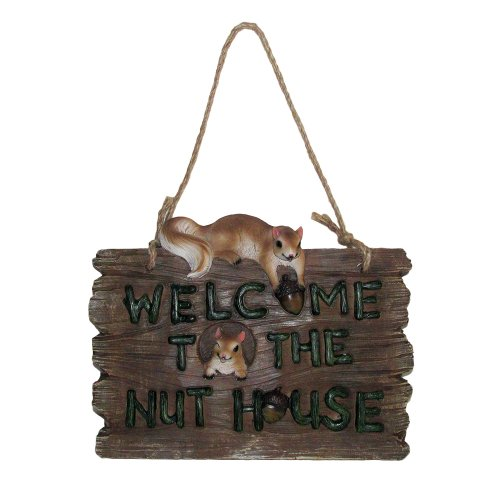 Whimsical Welcome to the Nut House Faux Wood Welcome Sign Wall Plaque with Squirrels and Acorns for Outdoor Porch or Rustic Country Garden Decor Decoration and Decorative Housewarming Gift