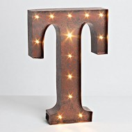 """12″ – Rustic Brown – Metal – Battery Operated – LED – Lighted Letter """"T"""" 