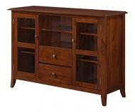 Simpli Home Devon Tall TV Stand, 54″W x 36″H, Medium Mahogany Brown