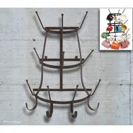 Vintage Rustic Brown Metal Wall Mounted 14 Hook Bottle & Mug Storage Organizer Tree Drying Rack – MyGift®