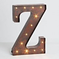 """12″ – Rustic Brown – Metal – Battery Operated – LED – Lighted Letter """"Z"""" 