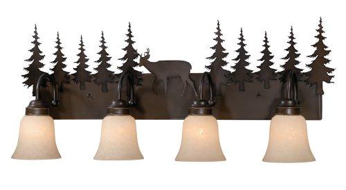 Vaxcel USA VL55404BBZ Bryce 4 Light Rustic Bathroom Vanity Lighting Fixture in Bronze, Glass