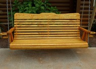 Handmade Amish Heavy Duty 700 Lb 5ft. Porch Swing With Cupholders – Cedar Stain – Made in USA