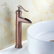 Fuloon Vintage Style Single Control Rustic Bathroom Faucet, Antique Copper Finish Bathroom Sink Faucet
