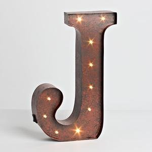 """12″ – Rustic Brown – Metal – Battery Operated – LED – Lighted Letter """"J"""" 