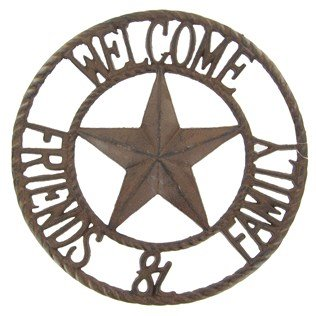 Aunt Chris' Products – Heavy Round Large Cast Iron ~ 'Welcome Friends & Family' Sign – Circle With A Star In The Middle – Old Country Western Design – Indoor or Outdoor Use – Bronze Rustic