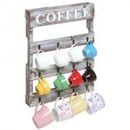 Country Rustic Style Brown Wood 12 Hook Wall Mounted Coffee Mug Rack / Tea Cup Holder Storage Organizer