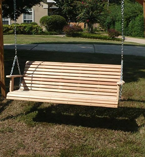 GO GREEN 5 Ft ROLL BACK PORCH SWING made from Rot-resistant Select Louisiana Cypress Eternal Wood Made in the USA Green Furniture