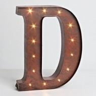 """12″ – Rustic Brown – Metal – Battery Operated – LED – Lighted Letter """"D"""" 