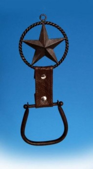 Cowboy Western Stirrup Texas Star Towel Holder Ring Bathroom Kitchen