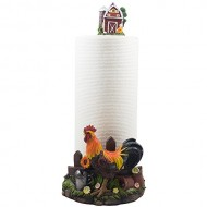 Decorative Farm Rooster Paper Towel Holder with Barn in Rustic Country Kitchen Decor Accessories As Gifts for Farmers