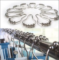 Shower Curtain Hooks and Rings, Silver Chrome Metal Heavy Duty, Fancy Decorative Bathroom Unique Rustic Design, Roller Ball Style in Stainless Steel