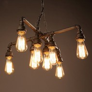 Electro_BP; Vintage Style Metal Art Chandelier Max 480W With 8 Lights Black and Silver Painted Finish