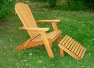 Folding Cedar Adirondack Chair W/ottoman & Stained Finish, Amish Crafted