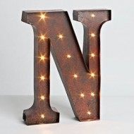 """12″ – Rustic Brown – Metal – Battery Operated – LED – Lighted Letter """"N"""" 