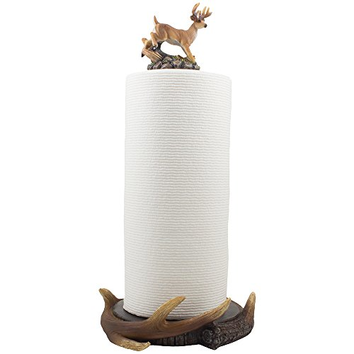 Wild Buck and Deer Antlers Paper Towel Holder with Decorative Display Stand Sculpture for Rustic Lodge and Hunting Cabin Kitchen Decor or Dining Room Counter and Table Centerpiece Decorations As Gifts for Hunters & Bucks Fans