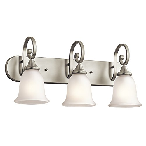 Kichler Lighting 45055NI Monroe 3-Light Vanity Fixture, Brushed Nickel Finish with Satin Etched Glass