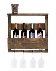 DAKODA LOVE – The Original Wine Rack, Rustic Handmade Reclaimed Wood, Wall Mounted, 4 Bottle 4 Long Stem Glass Holder & Shelf
