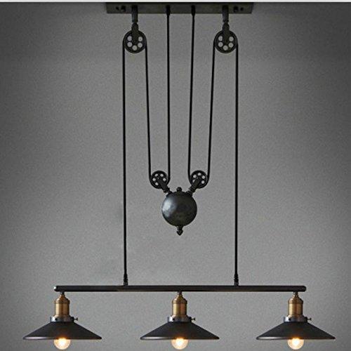 WinSoon Creative Pulley Design Black Iron Painted 3-Lights Island Light Bar Retro Hanging Lamp 3 Heads