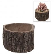 MyGift® Rustic Brown Ceramic Tree Stump Design Succulent Planter / Herb Garden Box / Flower Plant Pot
