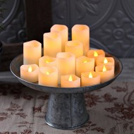 Set of 15 Warm White LED Flameless Melted Edge Ivory Wax Votives with Timers (Extra Batteries Included)