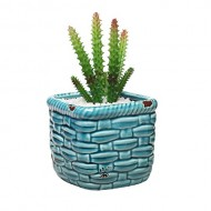 Turquoise Rustic Ceramic Basket Woven Pottery Style Succulent Planter Holder