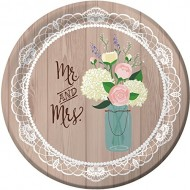 Rustic Wedding 10.25-inch Paper Plates 8 Per Pack