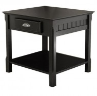 Winsome Wood End Table with Drawer and Shelf, Black