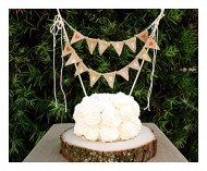 Bleubird Just Married Rustic Burlap Vintage Wedding Cake Topper Bunting, Brown