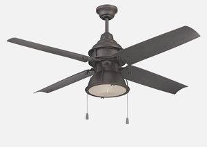 Craftmade PAR52ESP4 Port Arbor Ceiling Fan with Espresso Blades and Clear Halophane Glass, Espresso, 52″