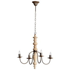 Cyan Designs 05097 Chandelier with No Shades, Rustic And White Oak Finish