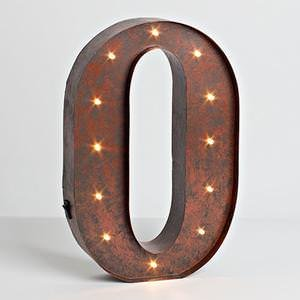 """12″ – Rustic Brown – Metal – Battery Operated – LED – Lighted Letter """"O"""" 