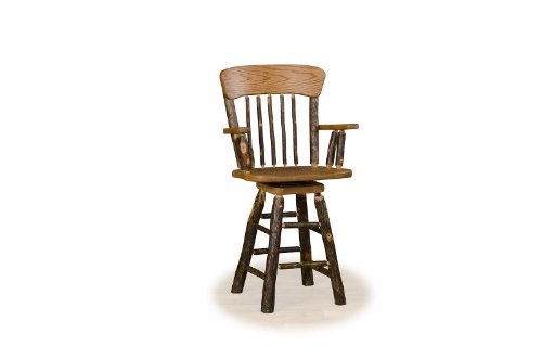 Hickory Log Swivel Oak Back Barstool WITH ARMS – Amish Made – 24″ Seat Height
