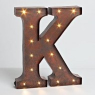 "12″ – Rustic Brown – Metal – Battery Operated – LED – Lighted Letter ""K"" 