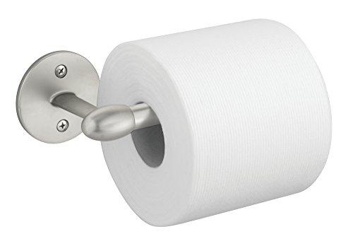 mDesign Toilet Paper Holder for Bathroom – Wall Mount, Satin