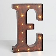 "12″ – Rustic Brown – Metal – Battery Operated – LED – Lighted Letter ""E"" 