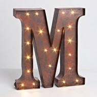 "12″ – Rustic Brown – Metal – Battery Operated – LED – Lighted Letter ""M"" 