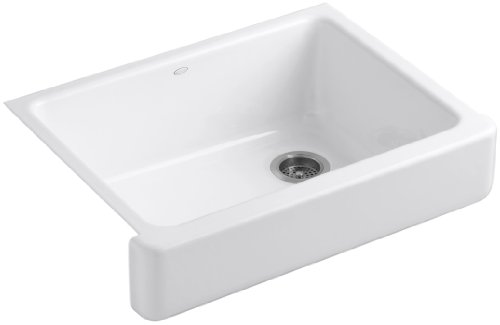 Kohler K-6486-0 Whitehaven Self-Trimming Apron Front Single Basin Kitchen Sink with Short Apron, White