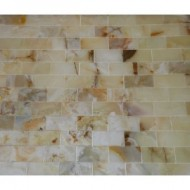 4×4 Small Sample of 2×4 Rustic White Onyx Polished Mosaic Tiles
