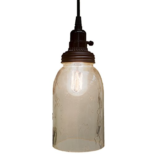 Big Rustic Star Mason Open Bottom Jar Pendant Lamp Hanging Light Primitive Decor
