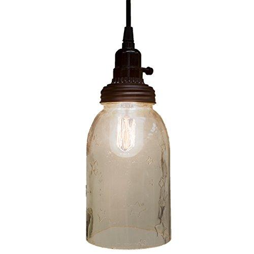 Big Rustic Star Mason Open Bottom Jar Pendant Lamp Hanging Light Primitive Decor