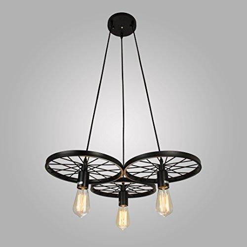 Electro_BP;Vintage Antique Metal Art Large Barn Wheels Hanging Pendant Light Max 180W With 3 Lights Black Finish
