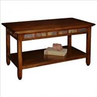 Rustic Slate Rectangular Coffee Table – Rustic Oak Finish