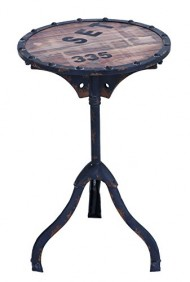 Benzara Industrial and Rustic Style Accent Table, Brown