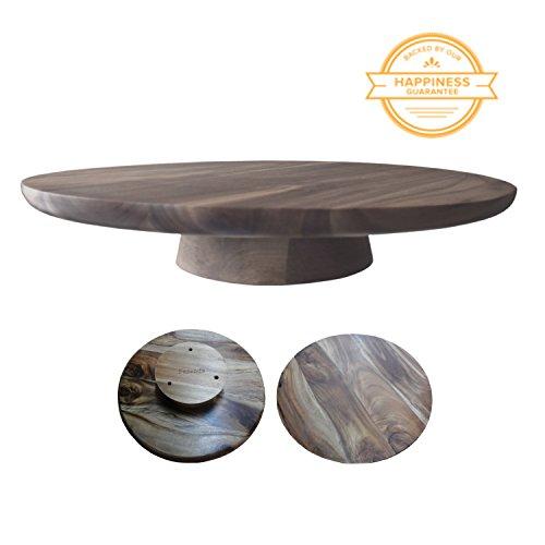 Fazenda Elegant Simple Natural Rustic Acacia Wood Cake Stand-Plate-Pedestal-Serving Platter for Weddings, Parties, & Entertaining