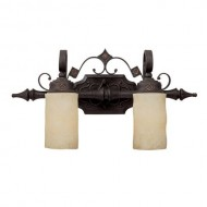 Capital Lighting 1902RI-125 Vanity with Rust Scavo Glass Shades, Rustic Iron Finish