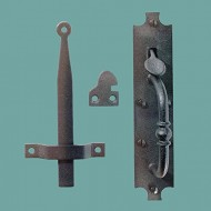 "Wrought Iron Door Latch Black ""Colonial Norfolk"" 8″ Tall 1-5/8″ Wide Authentic Hand-Crafted Styling"