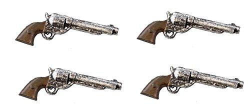 4 Piece Set – Rustic Cast Aluminum Pistol Drawer Pull Cabinet Knob
