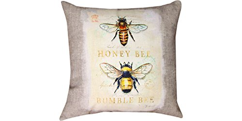 MWW Manual Indoor/Outdoor Throw Pillow, 18″, Natural Life Bee Natural History