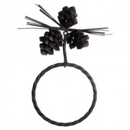 Pine Cone Towel Ring Wrought Iron Rustic Brown